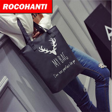 ROCOHANTI 2017 New Arrival Printing Black Canvas Tote Bag With Zippered Pocket Organic Canvas Fabric Heavy Duty TOTE F2102