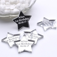 50PCS 3*3cm Personalized Engraved Love Star Table Centerpieces Tag Hole Baby Shower Decor Best Present Birthday Gift Favors(China)