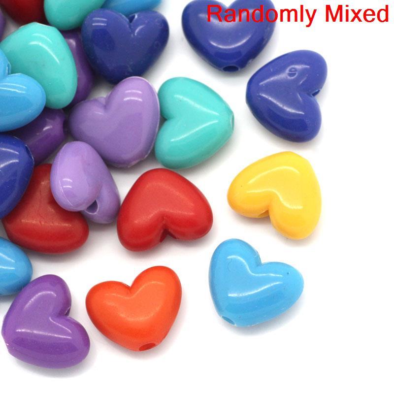 DIY 100PCS  Transparent Heart Mixed Acrylic Letter// Alphabet Spacer Beads 11mm