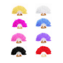 Taotown's  8 Colors Beautiful feather fan Square Dance goose feather folding fan Wedding Hand Fancy Dress Costume  freeshipping