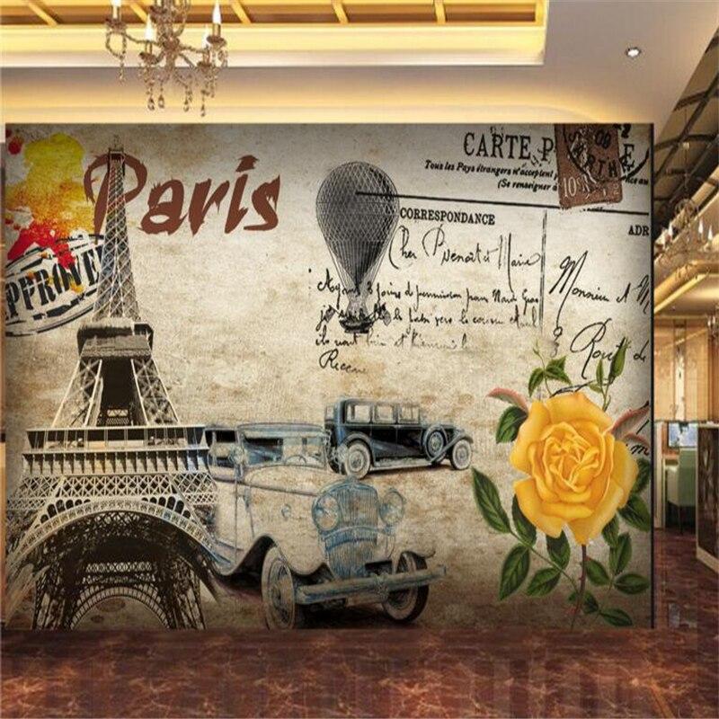 3d wallpaper Retro nostalgia Paris Tower Elegant floral tooling background wallpaper 3D living room bedroom background murals<br><br>Aliexpress