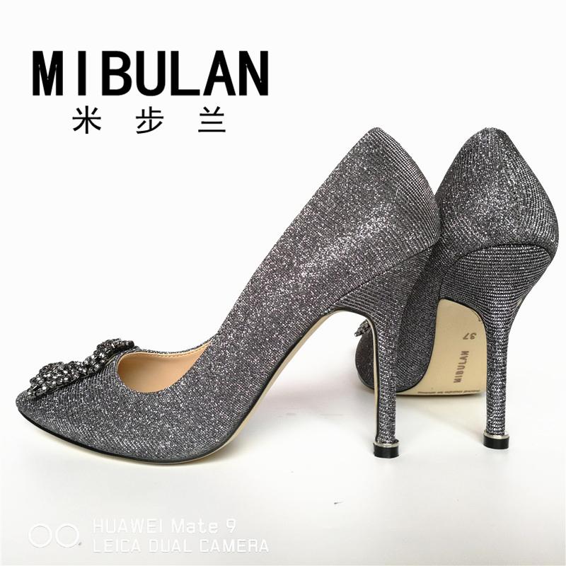 HTB1P0CyRVXXXXbiXXXXq6xXFXXXF - Free Shipping classic silk stain diamond buckle wedding heels, female shining silk stian buckle big size party pumps, 33-43