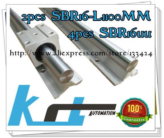 16mm linear rail 2pcs SBR16 -L1100mm supporter rails, 4pcs SBR16UU blocks for CNC linear shaft support rails and bearing blocks<br><br>Aliexpress
