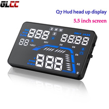 Auto Car Q7 Hud GPS head up display 5.5 Inch Screen Digital Speedometers Overspeed Alarm Universal Windshield Projector(China)