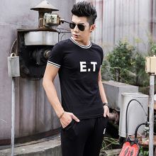 New Design E.T Print T shirtpants set Men Cotton O neck T-shirt Men tshirt Men Brand Clothing real madrid palace
