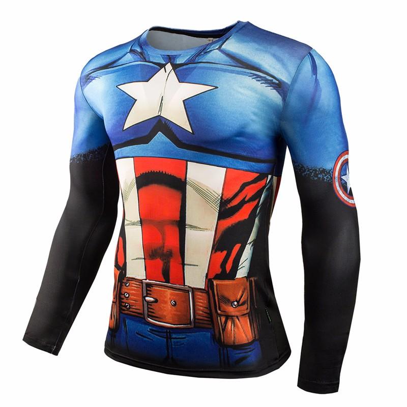 Marvel Gyms Clothing Fitness Compression Shirt Men Batman t-shirt men Long Sleeve 3D t shirt men Crossfit Tops tee shirt homme 11