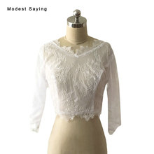 Real White Elegant V Neck Lace Wedding Boleros 2017 with 3/4 Sleeve Formal Cover Ups Bridal Jackets Coats Wraps Accessories YB28