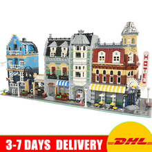 LEPIN 15002 Make Create Cafe Corner 15007 Market Street 15008 Green Grocer Building Blocks Toys Clone 10182 10190 10185(China)