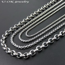 2/2.5/3/6mm Wide Silver Tone Stainless Steel Rolo Chain Necklace For Man & Women, Fashion Locket Chains, Stainless Steel Jewelry(China)