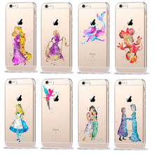 Phone Cases For Coque iPhone 7 7Plus 6 6S Plus SE 5 5S Watercolor Minnie Princess TinkerBell Silicone TPU Transparent Cover Case