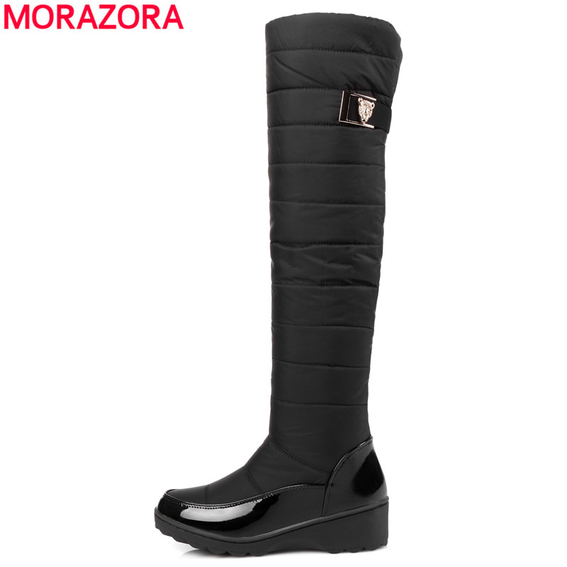 MORAZORA Plus size 35-44 snow boots platform winter shoes over the knee boots thick fur down women thigh high boots<br>