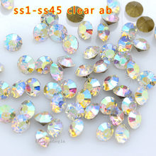 ss1-ss45 Crystal AB foil Pointed back faceted Glass loose rhinestones  strass chaton 3D Nail Art Decoration jewelry Repair stone f84a7b69250c