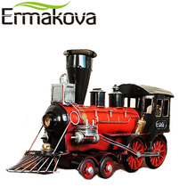 ERMAKOVA 40cm Retro Train Engine Steam Figurine Vintage Classic Locomotive Model Decorative Train Man Gift Home Decor