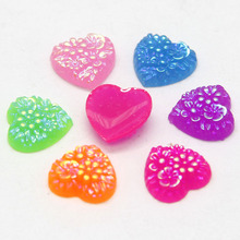 MIX Color Resin  40PCS Nail Art Crystal AB Color Loose Rhinestones Flatback 10mm Embellishment Resin Heart  Craft Decoration