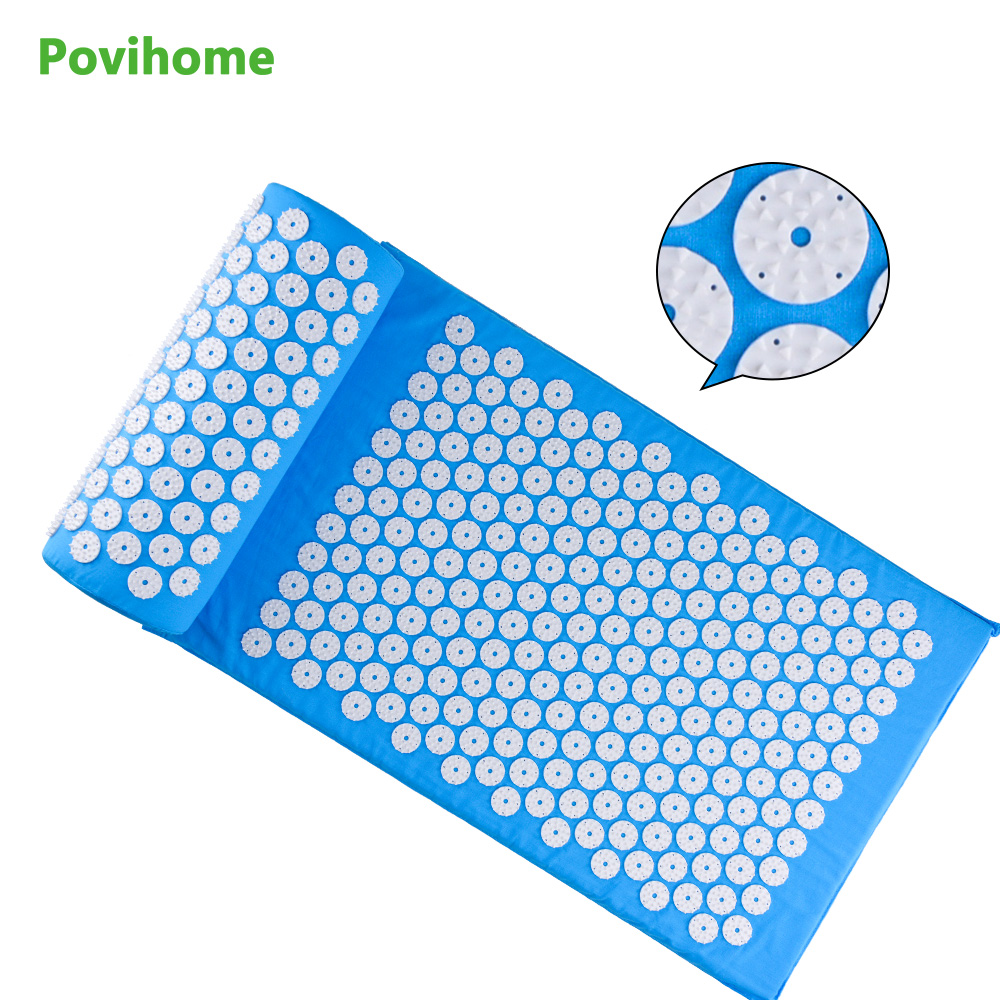 Povihome Health Care Therapy Cushion Massage Mat Relieve Stress Pain Acupuncture Spike Yoga Mat with Pillow Blue D06888<br>