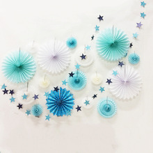 Blue&White Paper Decoration Set Assorted Paper Pinwheels Star Garland Dots Fan Banner for Birthday Wedding Showers Stage Setting(China)