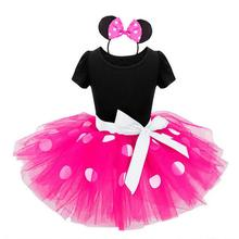 2017 Kids Christmas Gift Minnie Mouse Party Fancy Costume Cosplay Girls Ballet Tutu Dress+Ear Headband 12M-6Y