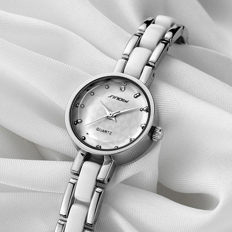 2016 New Quartz-watch SINOBI Womens Watch Bracelet Imitated Ceramic Ladies Watch Luxury Watches Women relojes mujer de marca<br><br>Aliexpress
