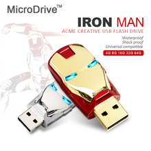 2017 Hot Sale Iron Man USB Flash Drive Pen Drive Crystal Diamond PenDrive 4GB 8GB 16GB 32GB 64GB Memory Stick/Thumb/Pendrives