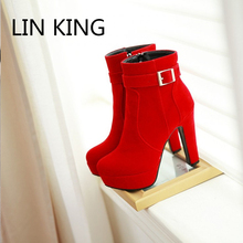 LIN KING New Winter Warm High Heels Ankle Boots Platform Buckle Fashion Good Quality Black Red Women Shoes Lady Zapatos Mujer