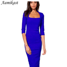 Women Dresses Hot Sale New Fashion Half Sleeve Knee-length Bodycon Pencil Party Dresses Square Collar Sexy Tight Autumn Clothing(China)