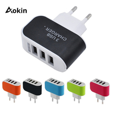 Aokin 3 Ports Multiple Wall USB Smart Charger 5V 3A EU Plug Adapter Mobile Phone Device Fast Charging Newest for iPhone Samsung
