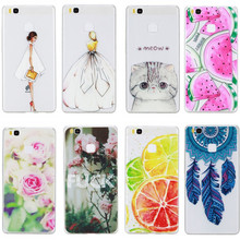 P9Lite Case Cover Silicon Fashion Girl Cat Rose Lemon Butterfly Rubber Phone Bag Coque Capinha For Huawei P9 Lite Etui Skin Gel