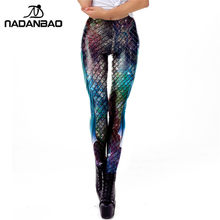 ccd2d25c7d42f NADANBAO Galaxy Mermaid Leggings Women Workout Fitness Legging Colorful  Fish Scales Printed Leggins Plus Size(