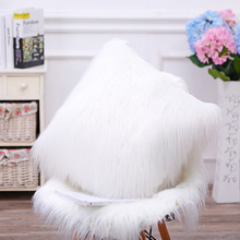 New Arrival Fleece Fluffy Plush Cushion with Zipper Sofa Car Bed Pillow Plush Toy Gift for Wedding Party Decoration 42*42cm(China)