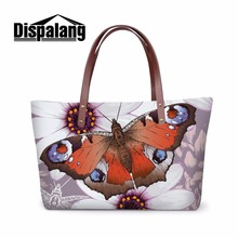 Dispalang novelty style promotion women handbags butterfly printed top handle shoulder bag tote messenger bag custom hand bag(China)
