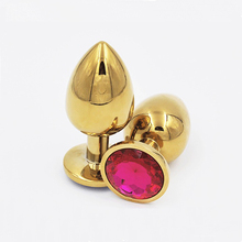 Buy Middium size Gold Stainless steel Diamond Crystal metal butt anal plug anal toys Adult Anal Sex Toys Men Anal Sex Products.