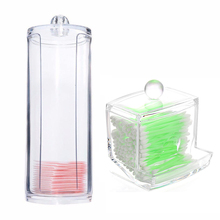 Portable Transparent Acrylic Cotton Swab Organizer Box Round Container Storage Case Make up Cotton&Pad Box For Home Hotel Office