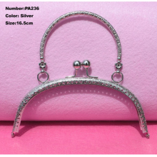 PA236 Purse Frame Hanger Embossing Portable 16.5cm Silver Metal Clasps Purses Accessories Handles Handbags Diy Bag Parts