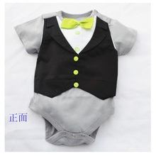 Baby One-pieces Bodysuit Green Bowties Tuxedo Vest Bodysuits Gentleman jumpsuit baby boy clothes body menino