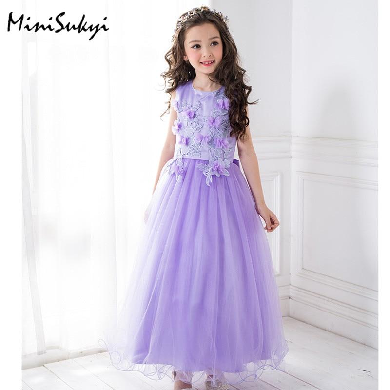 Kids Dresses for Girls Clothes Purple Flower Princess Dress 2017 Girls Summer Dress Children Clothing Vestido Princesa<br>