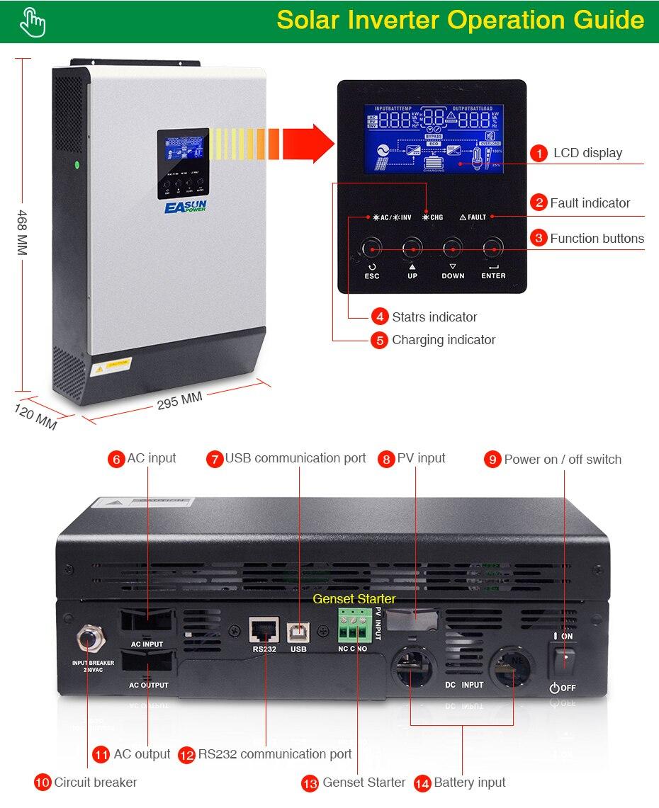 EASUN POWER 10KW Solar Inverter 80A MPPT Off Grid Inverter 48V 220V Pure Sine Wave Hybrid Inverter With 60A Battery Charger06