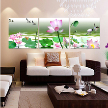 3 Panels Modern Canvas Painting Lotus Pattern Wall Art Modular Pictures Home Decor Cuadros Poster Wall Pictures For Living Room