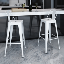iKayaa 2 Pcs square bar stools with back white Bar Stools ES Stock
