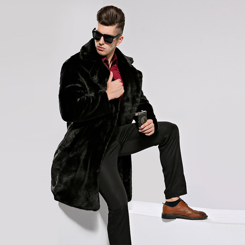 HONGZUO 2017 Winter Thick Warm Men Fur Coat Turn-down Collar Luxury Mink Fur Coat Black Artificial Fur Long Jacket Parka PC259