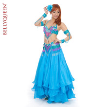 Sky blue Belly dance Performance Costume Set Belly dance Beaded embroidery sets 856#(China)