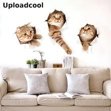 Uploadcool _3D Cartoon animal cat wall stickers living room bedroom children room decoration murals pet shop decoration stickers(China)