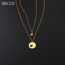 SRCOI Personalized Mother Daughter Necklace Set Gold Color Heart Cut Out Necklace Stainless Steel Jewelry As Christmas New Year(China)