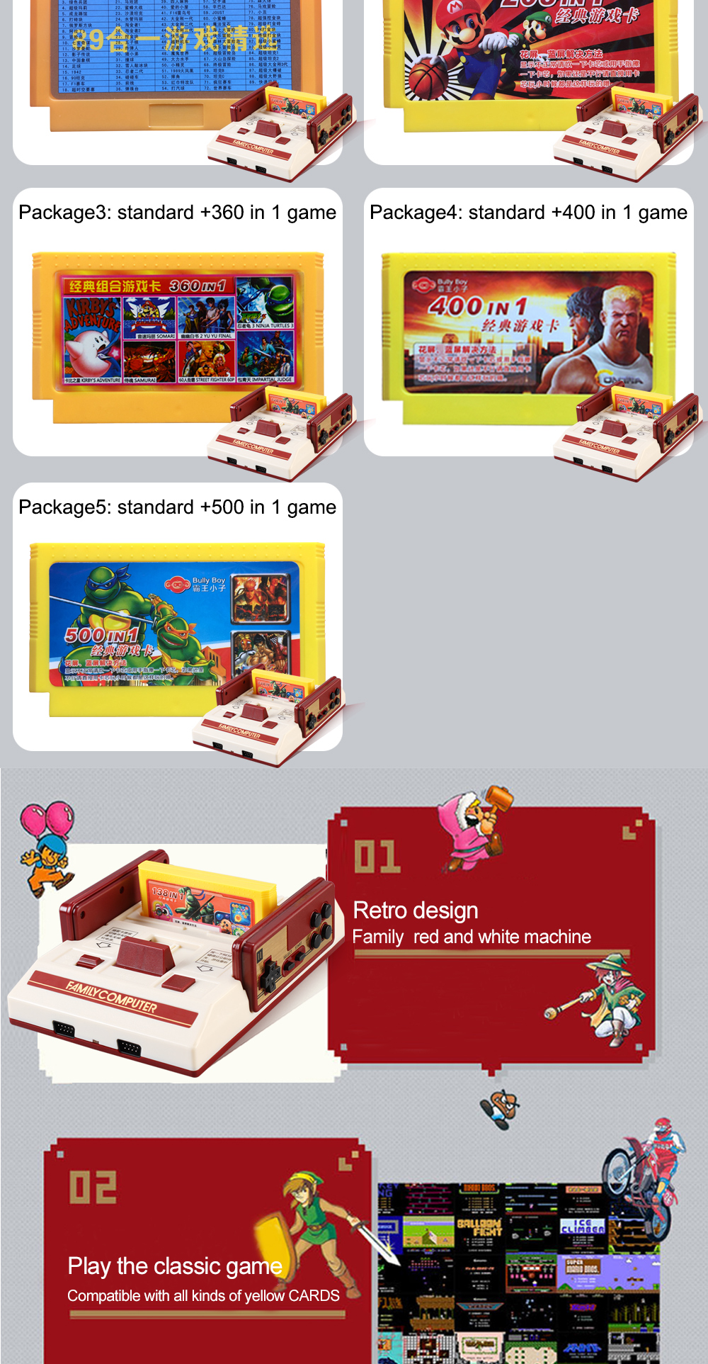 POWKIDDY Hot  family tv video game console 8 bit games Built in  classical games for 80 years after tv games double people play