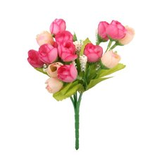 New Hotsale Best Price In Aliexpress promotion 1 Bunch Fake Rose Artificial Flower Bouquet Home Office Decor (Rosy)
