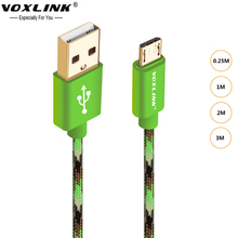 VOXLINK Original Micro USB Data Cable Braided Metal Android Mobile Phone Charger Cable For Samsung sony htc lg xiaomi huawei