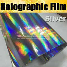 Free shipping Silver Rainbow Chrome Holographic vinyl with air free bubbles holographic sticker Rainbow holographic