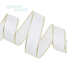 (10 yards/lot) White Gold Edge Grosgrain Ribbon Wholesale Gift Wrapping Christmas ribbons