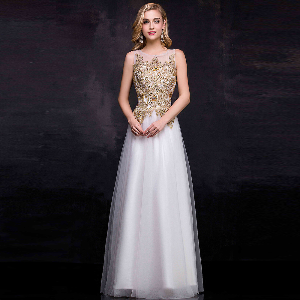 Gold lace prom dresses 2015