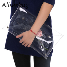 Hot Fashion OL Women Transparent Handbag Work Clear Clutches Totes Waterproof Envelope Bags Elegant Casual PVC Handbag SV016333