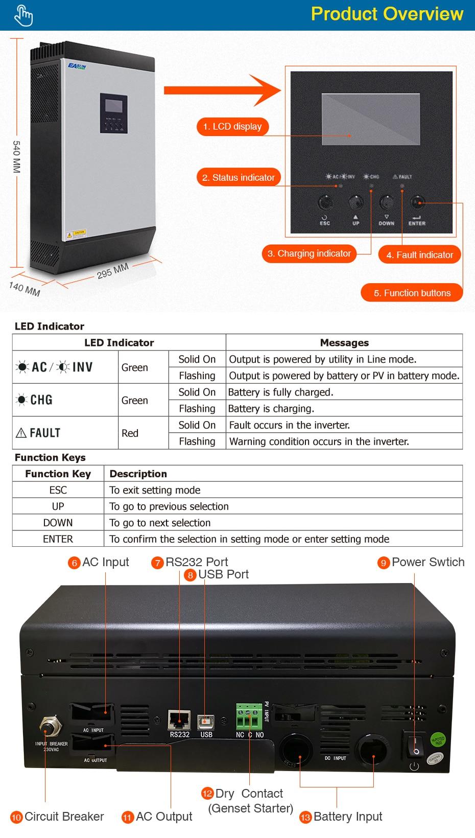 EASUN POWER 5KVA Solar Inverter 4000W 48V 220V Hybrid Inverter Pure Sine Wave Built-in MPPT Solar Controller Battery Charger ISolar SML 5K-05